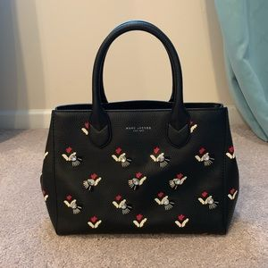 Marc Jacobs black with flowers top handle bag